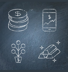 chalkboard stock market and exchange icon set in vector image