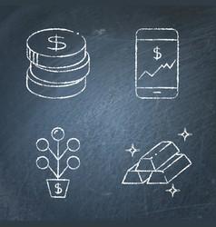 chalkboard stock market and exchange icon set vector image
