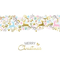Christmas decoration and ornament pattern in gold vector image
