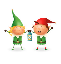 christmas elves girl and boy with lantern vector image