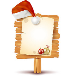 Christmas signboard with hat vector