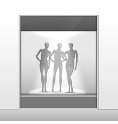 Clothing Shop Boutique Store Front with Mannequins vector