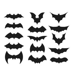 Collection black bat silhouettes or symbols vector