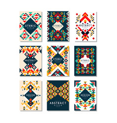 colorful set of 9 card templates with vector image