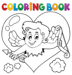 coloring book with heart and cupid vector image