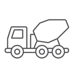 concrete mixer truck thin line icon transport vector image