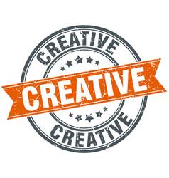 creative round grunge ribbon stamp vector image