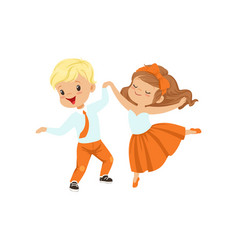 cute little boy and girl enjoying the dance vector image
