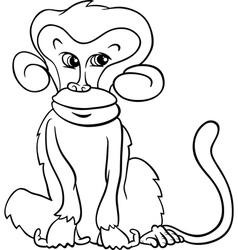 Cute monkey cartoon coloring page vector