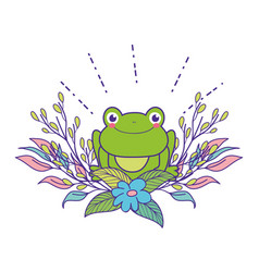 Cute toad with flowers garden character vector