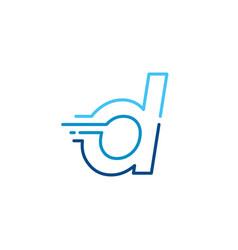 D letter dash lowercase tech digital fast quick vector