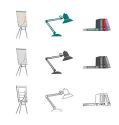 Design of furniture and work symbol set of vector