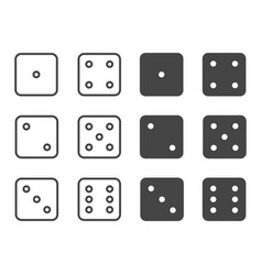 dice icon set symbol vector image