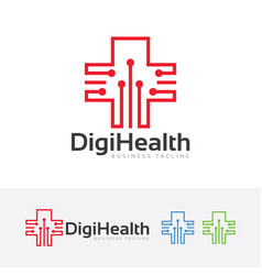 digital health logo design vector image