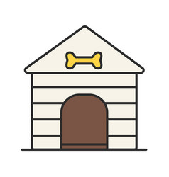 dogs house color icon vector image