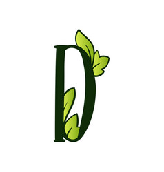 Doodling eco alphabet letter dtype with leaves vector