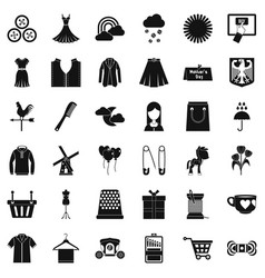 Dress icons set simple style vector