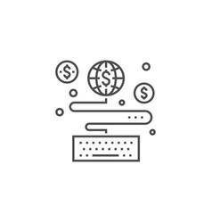 Earn online line icon vector