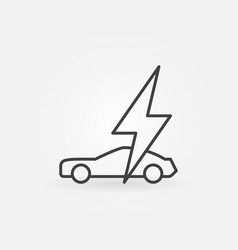 electric car with lightning concept line vector image