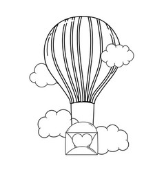 Envelope with heart flying in balloon air hot vector