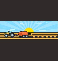Farm vehicles at work in field harvesting hay vector