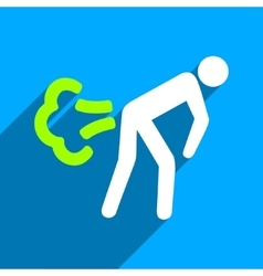 Fart flat square icon with long shadow vector