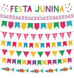festa junina brazil june party banners set vector image