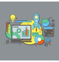 flat design website development graphic design vector image