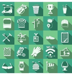 Flat icons for golf vector image