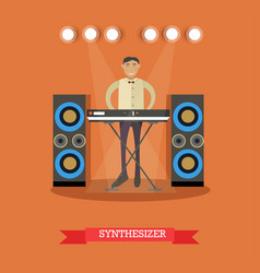 flat of young musician playing vector image