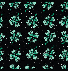 four-leaf clover seamless pattern cute vector image