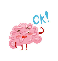 friendly humanized brain winking with one eye and vector image