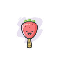 Funny strawberry ice cream icon vector