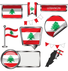 Glossy icons with Lebanese flag vector