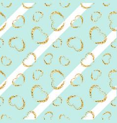 gold heart seamless pattern white-blue geometric vector image