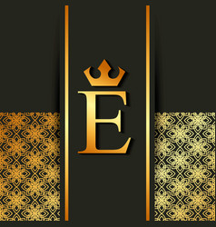 golden luxury and elegant e letter crown royal vector image