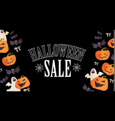 halloween sale design template with smilling vector image
