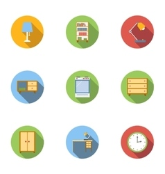 Home furnishings icons set flat style vector