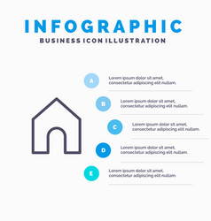 Home instagram interface line icon with 5 steps vector