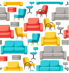 Interior and furniture seamless pattern sofa vector