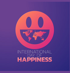 international day of happiness logo icon design vector image