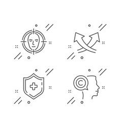 Intersection arrows medical shield and face vector