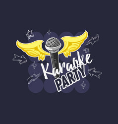 karaoke party music design with a microphone and vector image