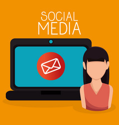laptop with user and social media icon vector image