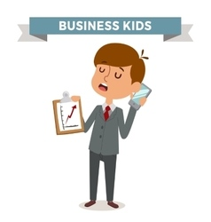Little schoolboy like businessman with business vector image