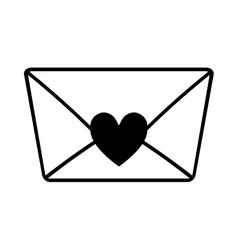 love message envelope valentine outline vector image