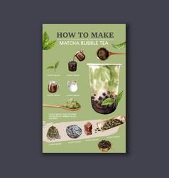 Making matcha bubble milk tea homemade ad content vector