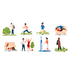 Man in daily activity set young male character vector