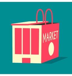Market and shopping bag flat vector image