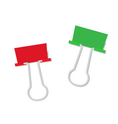 metal paper clip of red and green color isolated vector image